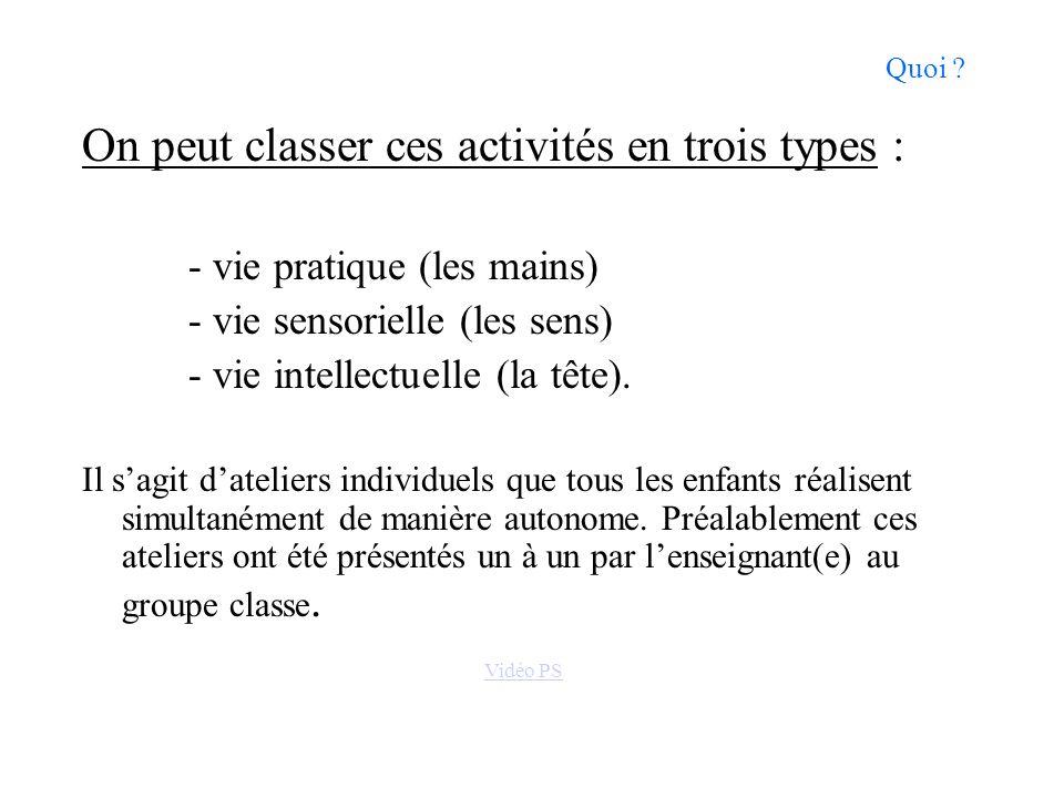 Quoi ? On peut classer ces activités en trois types : - vie pratique (les mains) - vie sensorielle (les sens) - vie intellectuelle (la tête). Il sagit