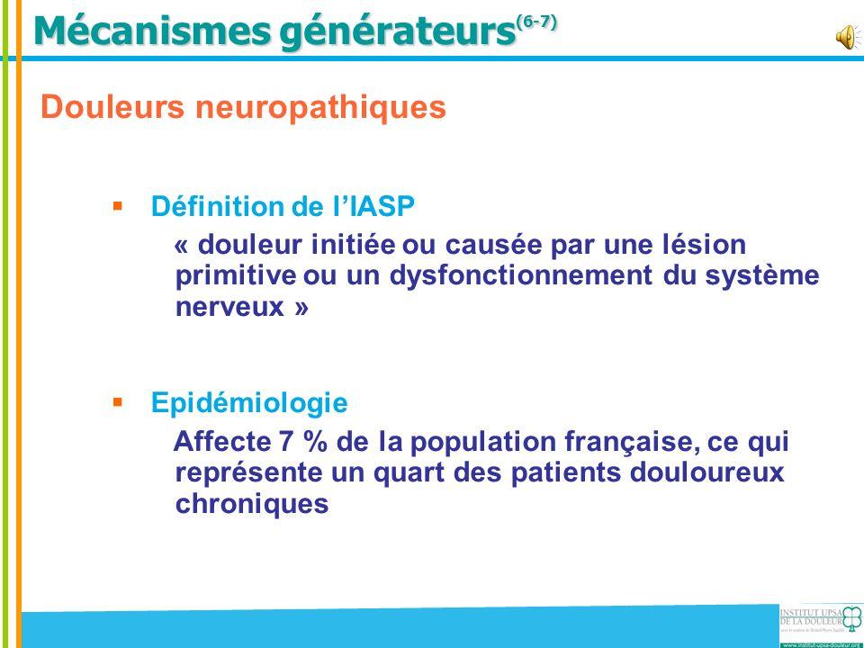 Mécanismes générateurs (6-7) Douleurs neuropathiques Définition de lIASP « douleur initiée ou causée par une lésion primitive ou un dysfonctionnement