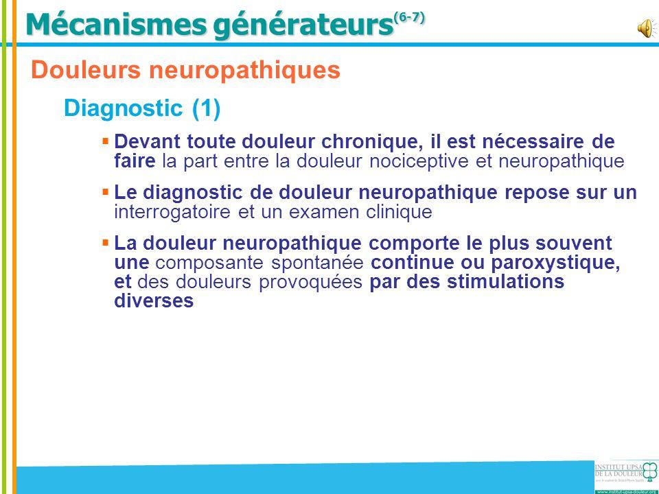 Douleurs neuropathiques Diagnostic (1) Devant toute douleur chronique, il est nécessaire de faire la part entre la douleur nociceptive et neuropathiqu