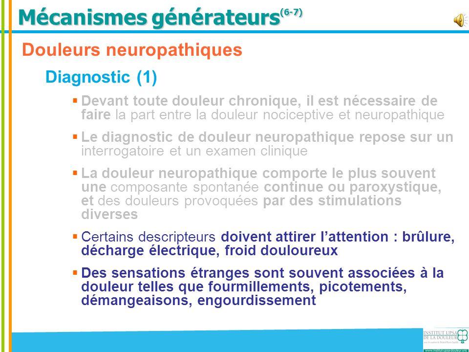 Douleurs neuropathiques Diagnostic (2) Lexamen recherche lassociation de signes neurologiques déficitaires (déficit sensitif tactile, à la piqûre, ou thermique) Recherche Allodynie au frottement Recherche Hypoesthésie au tact et à la piqûre * Allodynie : douleur en réponse à une stimulation qui normalement ne provoque pas de douleur ** Hyperalgésie : augmentation de la réponse à un stimulus normalement douloureux.