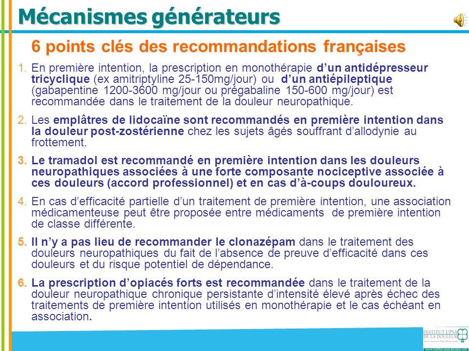 6 points clés des recommandations françaises 1.En première intention, la prescription en monothérapie dun antidépresseur tricyclique (ex amitriptyline