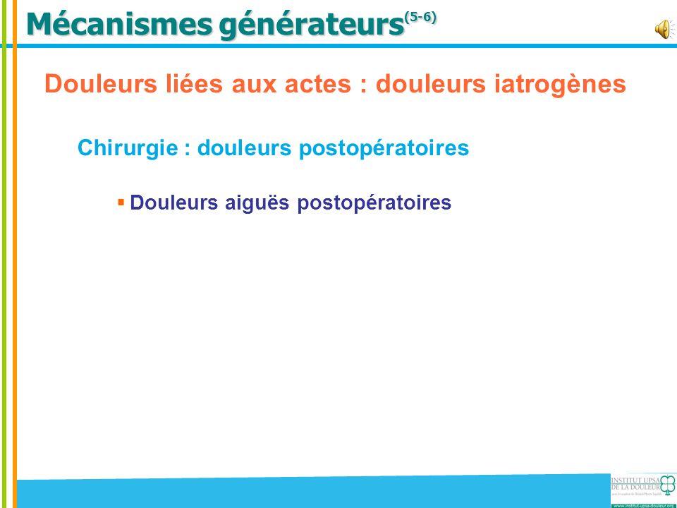 Mécanismes générateurs (5-6) Douleurs liées aux actes : douleurs iatrogènes Chirurgie : douleurs postopératoires Douleurs aiguës postopératoire Douleurs neuropathiques post-thoracotomie