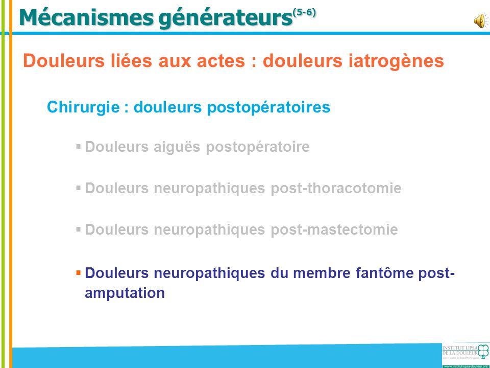 Mécanismes générateurs (5-6) Douleurs liées aux actes : douleurs iatrogènes Chirurgie : douleurs postopératoires Douleurs aiguës postopératoire Douleu