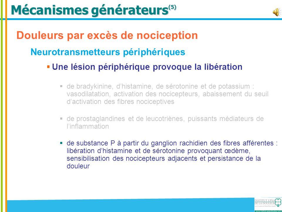Mécanismes générateurs (5) Douleurs par excès de nociception Neurotransmetteurs périphériques Une lésion périphérique provoque la libération de bradyk