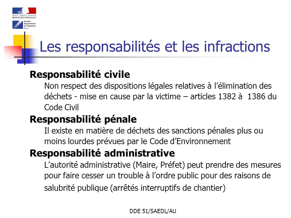 DDE 51/SAEDL/AU Les responsabilités et les infractions Responsabilité civile Non respect des dispositions légales relatives à lélimination des déchets