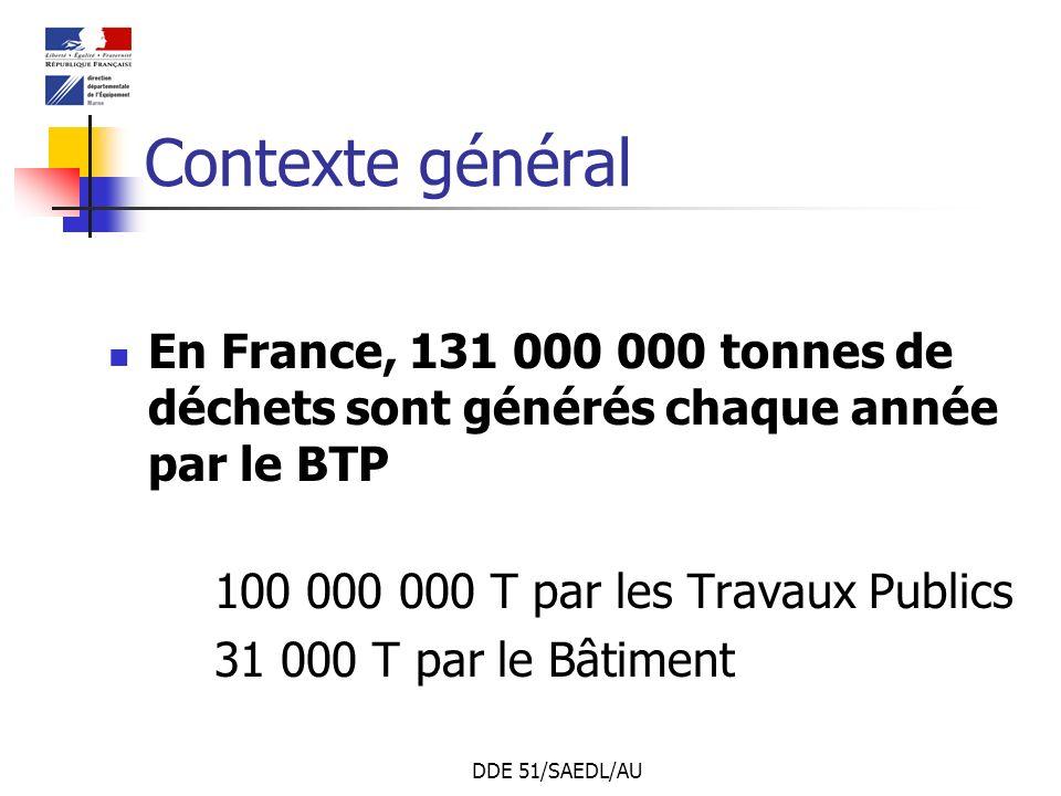 DDE 51/SAEDL/AU Contexte général En France, 131 000 000 tonnes de déchets sont générés chaque année par le BTP 100 000 000 T par les Travaux Publics 3