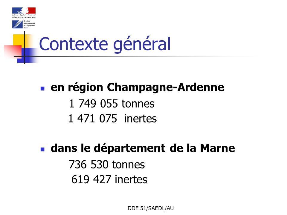 DDE 51/SAEDL/AU Contexte général en région Champagne-Ardenne 1 749 055 tonnes 1 471 075 inertes dans le département de la Marne 736 530 tonnes 619 427