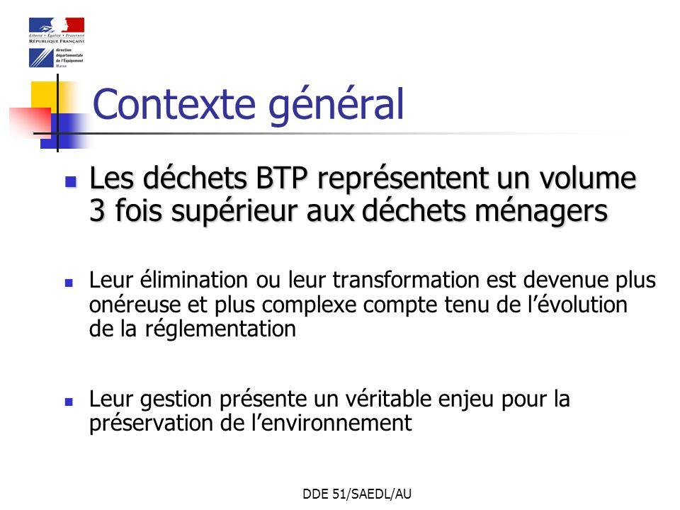 DDE 51/SAEDL/AU Contexte général Les déchets BTP représentent un volume 3 fois supérieur aux déchets ménagers Les déchets BTP représentent un volume 3