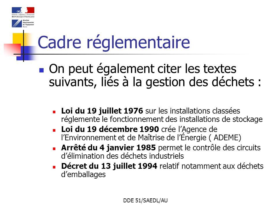 DDE 51/SAEDL/AU Cadre réglementaire On peut également citer les textes suivants, liés à la gestion des déchets : Loi du 19 juillet 1976 sur les instal