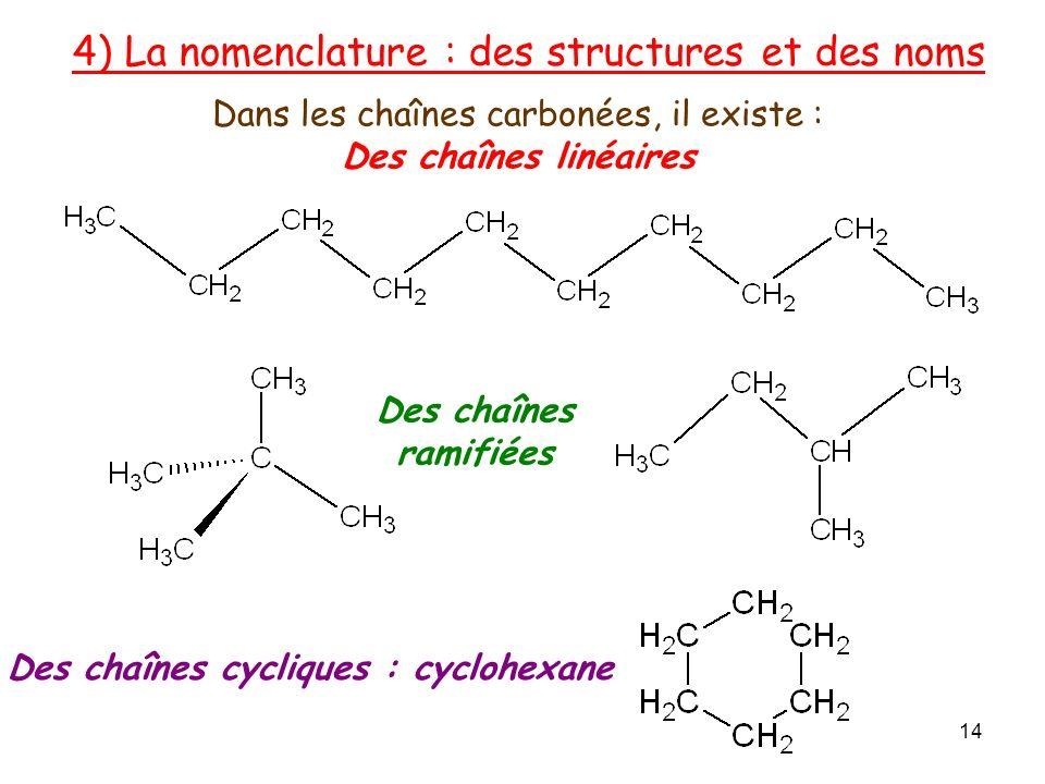 Des chaînes cycliques : cyclohexane 4) La nomenclature : des structures et des noms Dans les chaînes carbonées, il existe : Des chaînes linéaires Des chaînes ramifiées 14