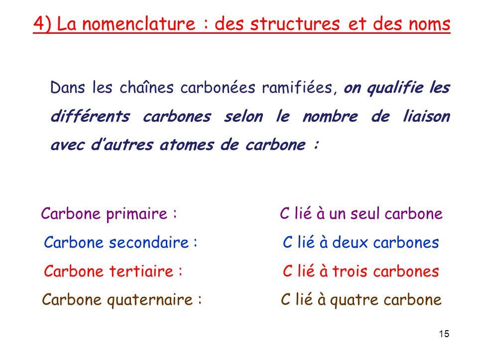 4) La nomenclature : des structures et des noms 15 Carbone primaire : C lié à un seul carbone Carbone secondaire : C lié à deux carbones Carbone tertiaire : C lié à trois carbones Carbone quaternaire : C lié à quatre carbone Dans les chaînes carbonées ramifiées, on qualifie les différents carbones selon le nombre de liaison avec dautres atomes de carbone :