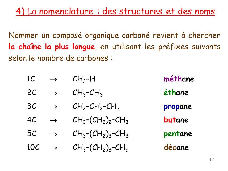 1C CH 3 –Hméthane 2C CH 3 –CH 3 éthane 3C CH 3 –CH 2 –CH 3 propane 4C CH 3 –(CH 2 ) 2 –CH 3 butane 5C CH 3 –(CH 2 ) 3 –CH 3 pentane 10C CH 3 –(CH 2 ) 8 –CH 3 décane Nommer un composé organique carboné revient à chercher la chaîne la plus longue, en utilisant les préfixes suivants selon le nombre de carbones : 4) La nomenclature : des structures et des noms 17