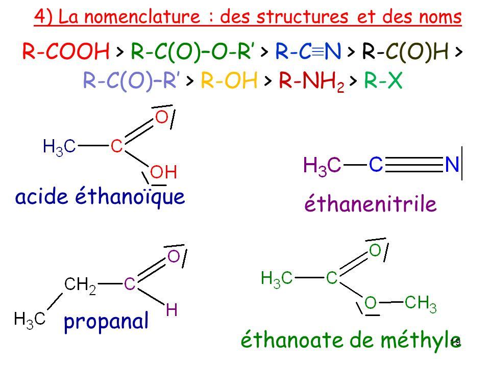 acide éthanoïque éthanoate de méthyle propanal 4) La nomenclature : des structures et des noms éthanenitrile 19 R-COOH > R-C(O)–O-R > R-C N > R-C(O)H > R-C(O)–R > R-OH > R-NH 2 > R-X