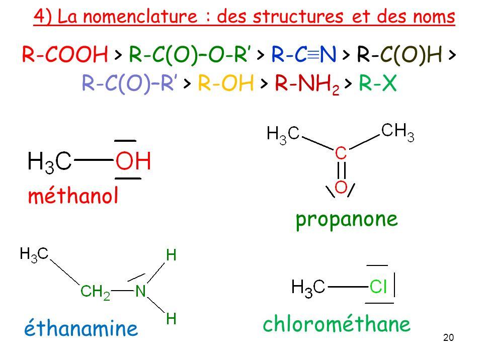 méthanol éthanamine 4) La nomenclature : des structures et des noms chlorométhane 20 R-COOH > R-C(O)–O-R > R-C N > R-C(O)H > R-C(O)–R > R-OH > R-NH 2 > R-X propanone