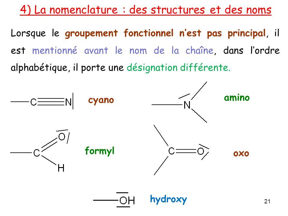 Lorsque le groupement fonctionnel nest pas principal, il est mentionné avant le nom de la chaîne, dans lordre alphabétique, il porte une désignation différente.