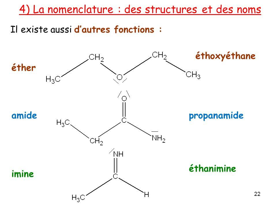 Il existe aussi dautres fonctions : 4) La nomenclature : des structures et des noms éther amide imine éthoxyéthane propanamide éthanimine 22