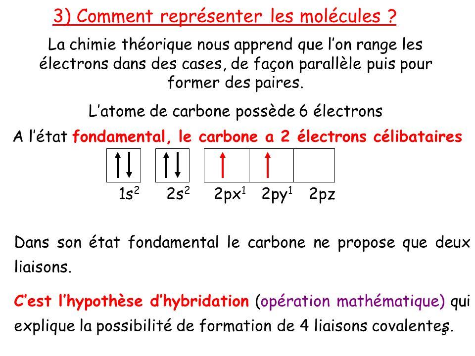 A létat fondamental, le carbone a 2 électrons célibataires 1s 2 2s 2 2px 1 2py 1 2pz La chimie théorique nous apprend que lon range les électrons dans des cases, de façon parallèle puis pour former des paires.