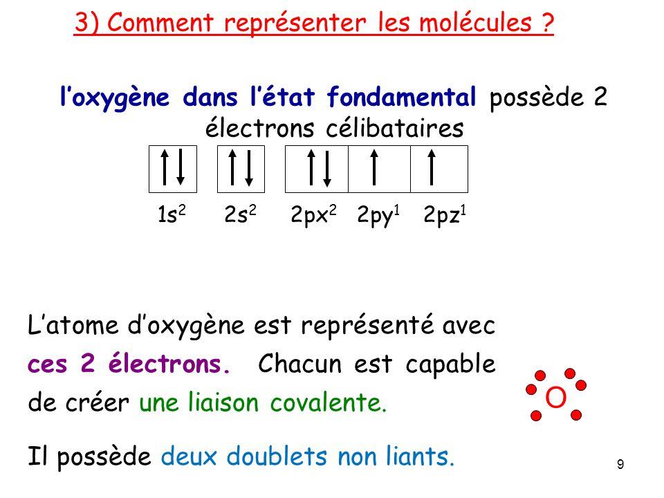 loxygène dans létat fondamental possède 2 électrons célibataires 3) Comment représenter les molécules .
