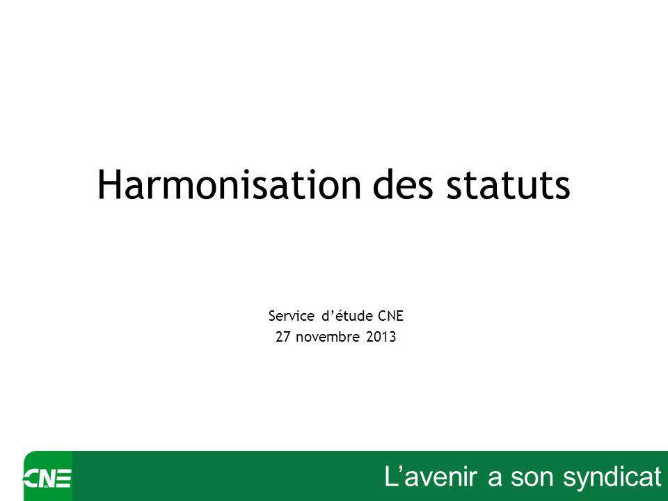 Lavenir a son syndicat Harmonisation des statuts Service détude CNE 27 novembre 2013