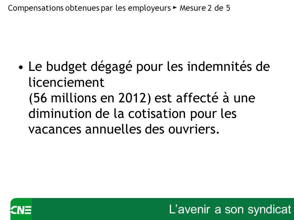 Lavenir a son syndicat Le budget dégagé pour les indemnités de licenciement (56 millions en 2012) est affecté à une diminution de la cotisation pour les vacances annuelles des ouvriers.