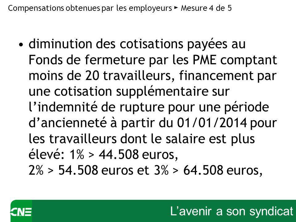 Lavenir a son syndicat diminution des cotisations payées au Fonds de fermeture par les PME comptant moins de 20 travailleurs, financement par une cotisation supplémentaire sur lindemnité de rupture pour une période dancienneté à partir du 01/01/2014 pour les travailleurs dont le salaire est plus élevé: 1% > 44.508 euros, 2% > 54.508 euros et 3% > 64.508 euros, Compensations obtenues par les employeurs Mesure 4 de 5