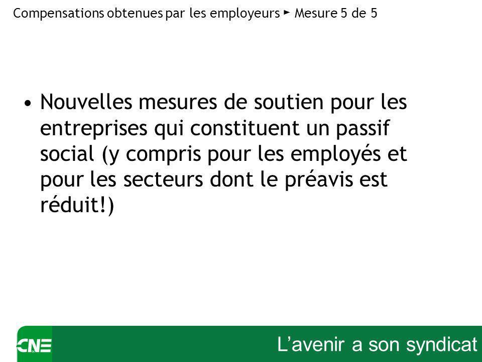 Lavenir a son syndicat Nouvelles mesures de soutien pour les entreprises qui constituent un passif social (y compris pour les employés et pour les secteurs dont le préavis est réduit!) Compensations obtenues par les employeurs Mesure 5 de 5