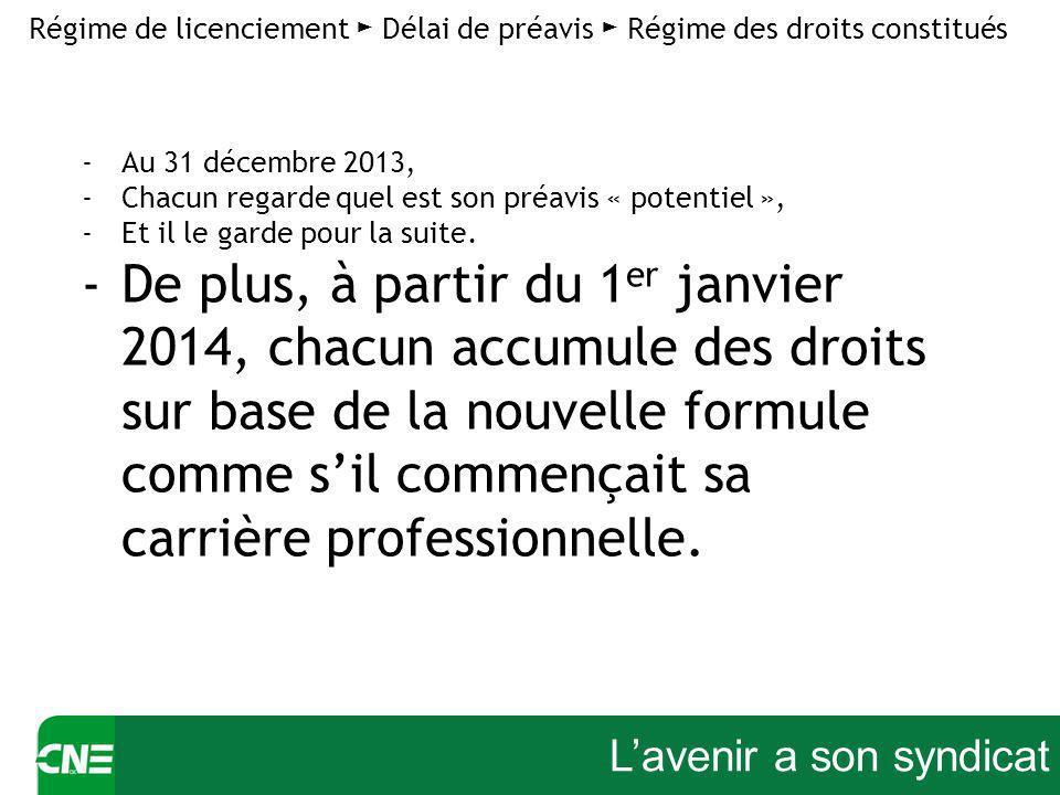 Lavenir a son syndicat Régime de licenciement Délai de préavis Régime des droits constitués -Au 31 décembre 2013, -Chacun regarde quel est son préavis « potentiel », -Et il le garde pour la suite.