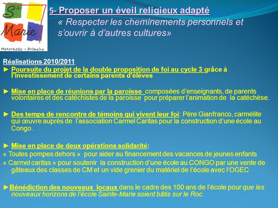 5- Proposer un éveil religieux adapté 5- Proposer un éveil religieux adapté « Respecter les cheminements personnels et souvrir à dautres cultures» Réa