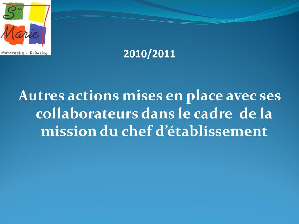 2010/2011 Autres actions mises en place avec ses collaborateurs dans le cadre de la mission du chef détablissement