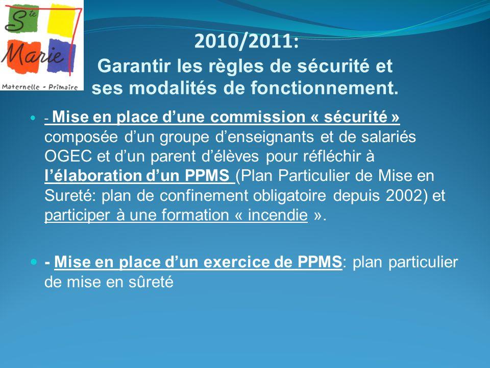 2010/2011: Garantir les règles de sécurité et ses modalités de fonctionnement. - Mise en place dune commission « sécurité » composée dun groupe densei