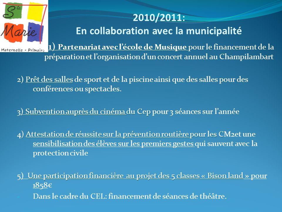 2010/2011: En collaboration avec la municipalité Partenariat avec lécole de Musique 1) 1) Partenariat avec lécole de Musique pour le financement de la