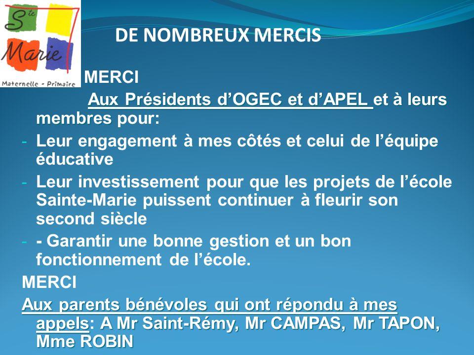 DE NOMBREUX MERCIS MERCI Aux Présidents dOGEC et dAPEL et à leurs membres Aux Présidents dOGEC et dAPEL et à leurs membres pour: - Leur engagement à m