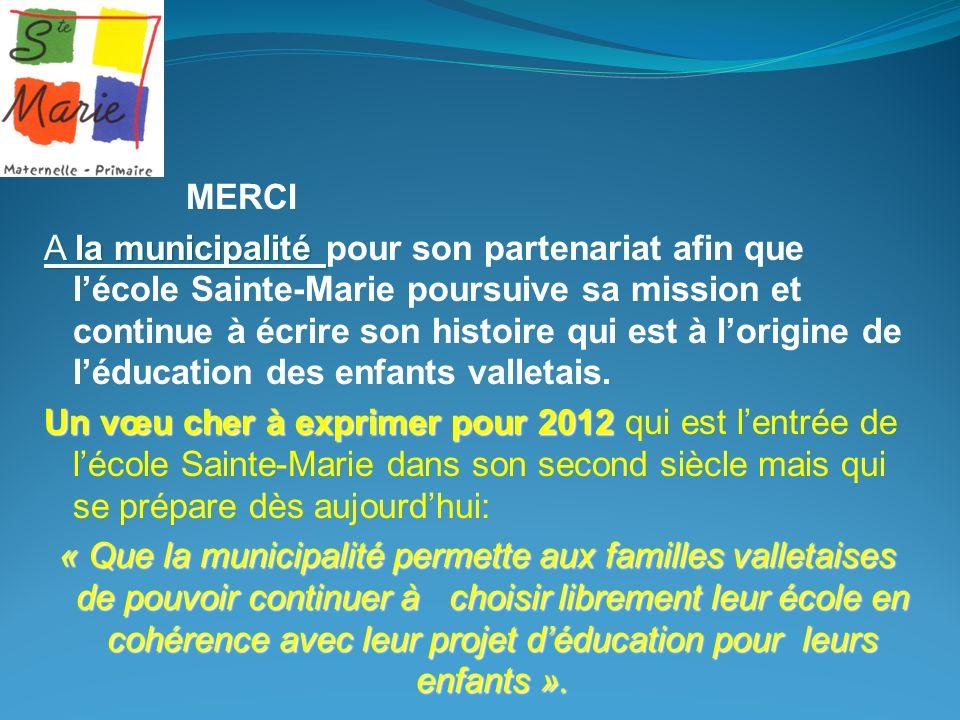 MERCI A la municipalité A la municipalité pour son partenariat afin que lécole Sainte-Marie poursuive sa mission et continue à écrire son histoire qui