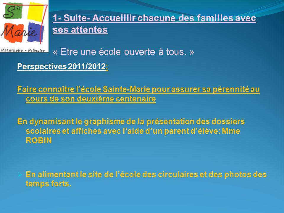 1- Suite- Accueillir chacune des familles avec ses attentes « Etre une école ouverte à tous. » Perspectives 2011/2012: Faire connaître lécole Sainte-M