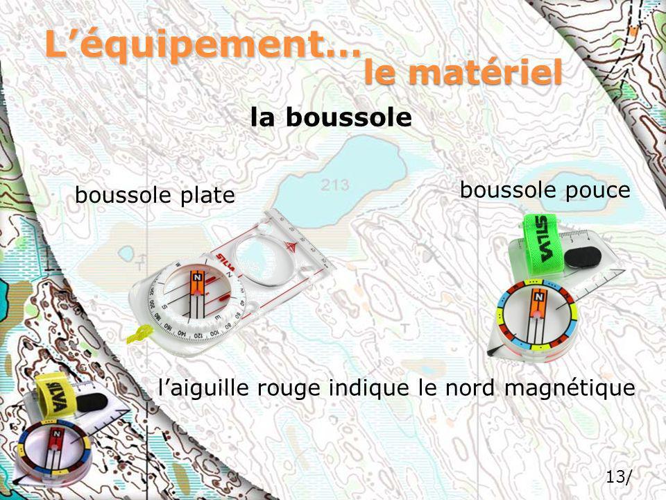 Léquipement… la boussole le matériel boussole pouce boussole plate laiguille rouge indique le nord magnétique 13/