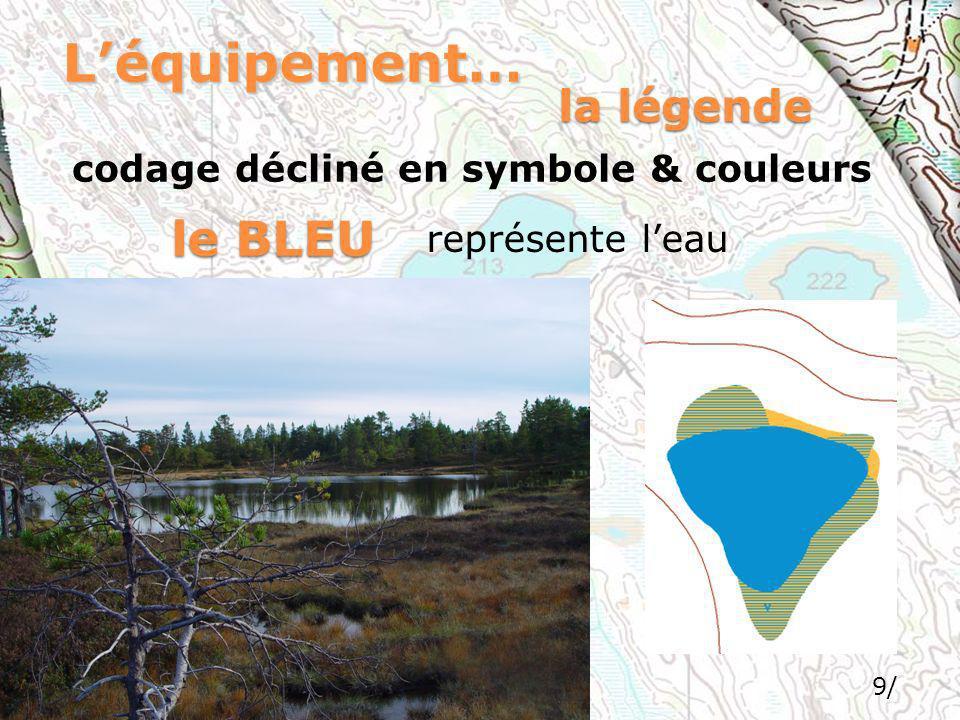 9/ Léquipement… codage décliné en symbole & couleurs la légende le BLEU représente leau