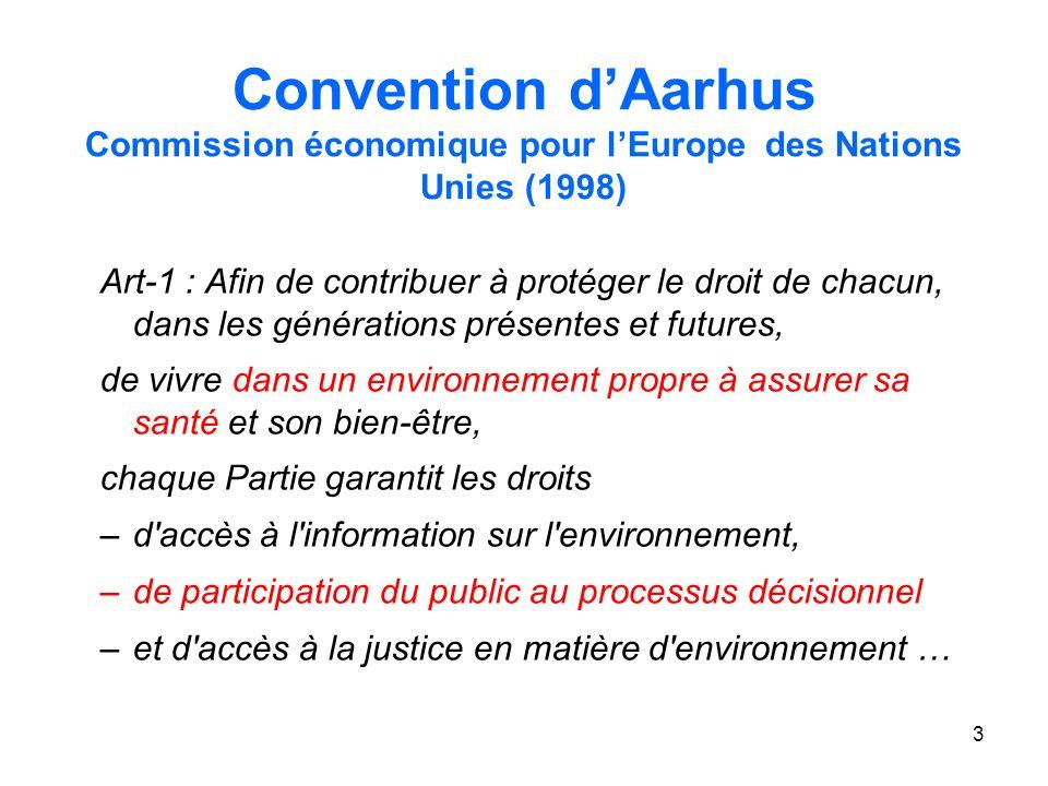 3 Convention dAarhus Commission économique pour lEurope des Nations Unies (1998) Art-1 : Afin de contribuer à protéger le droit de chacun, dans les générations présentes et futures, de vivre dans un environnement propre à assurer sa santé et son bien-être, chaque Partie garantit les droits –d accès à l information sur l environnement, –de participation du public au processus décisionnel –et d accès à la justice en matière d environnement …