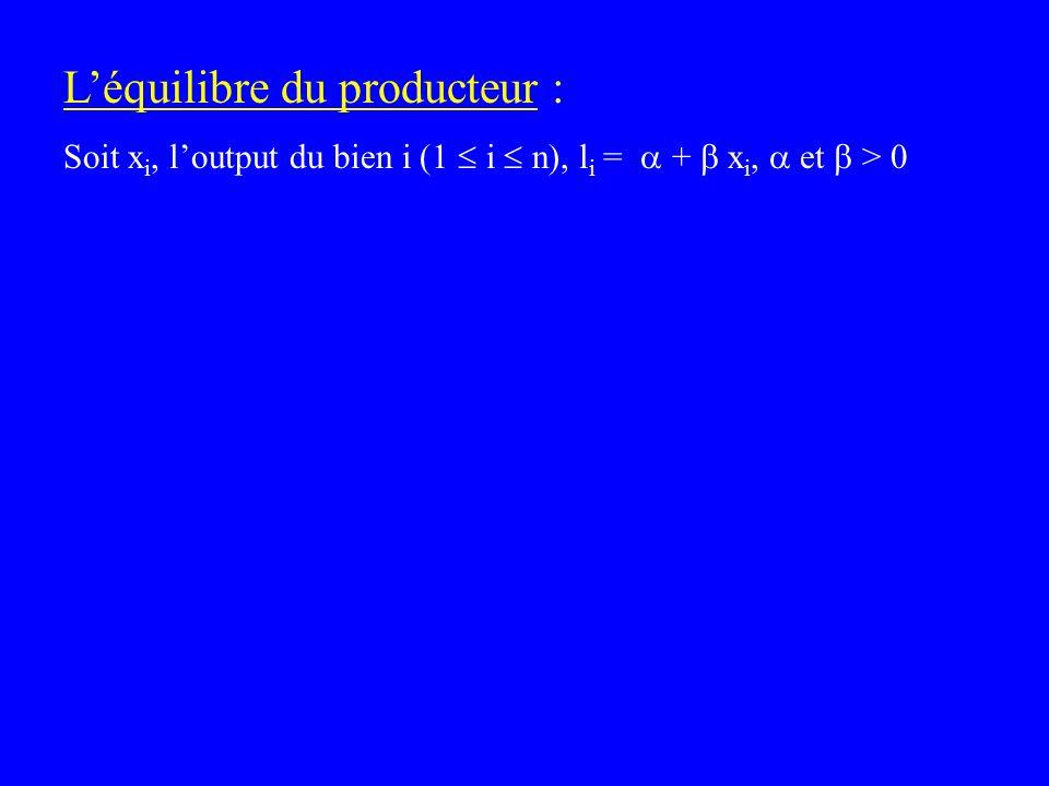 Léquilibre du producteur : Soit x i, loutput du bien i (1 i n), l i = + x i, et > 0