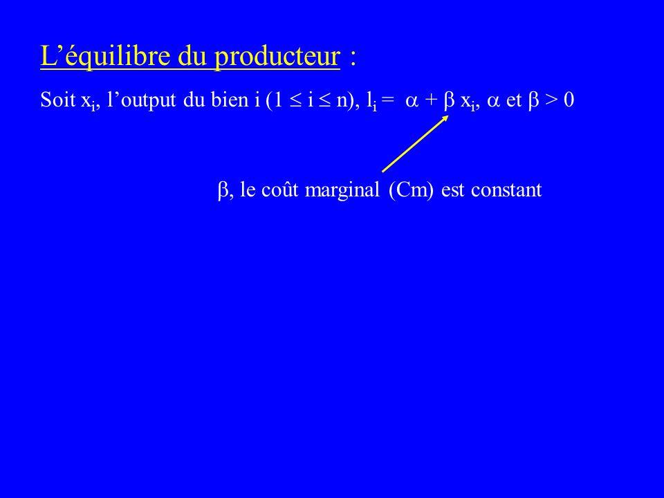 Léquilibre du producteur : Soit x i, loutput du bien i (1 i n), l i = + x i, et > 0, le coût marginal (Cm) est constant