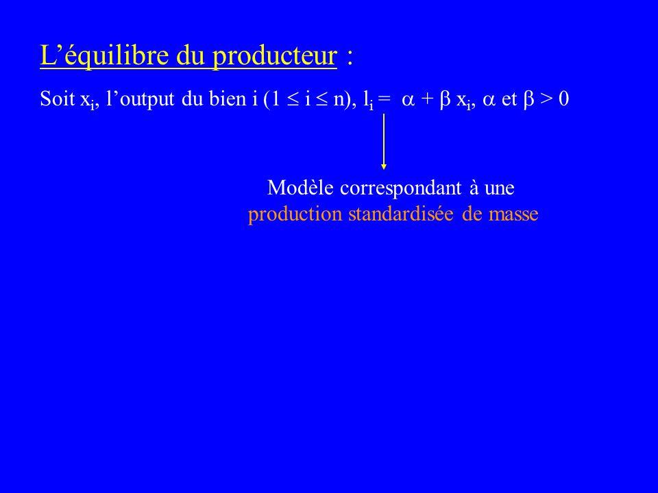 Léquilibre du producteur : Soit x i, loutput du bien i (1 i n), l i = + x i, et > 0 Modèle correspondant à une production standardisée de masse