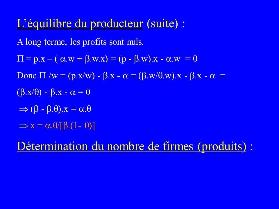 Léquilibre du producteur (suite) : A long terme, les profits sont nuls. = p.x – (.w +.w.x) = (p -.w).x -.w = 0 Donc /w = (p.x/w) -.x - = (.w/.w).x -.x