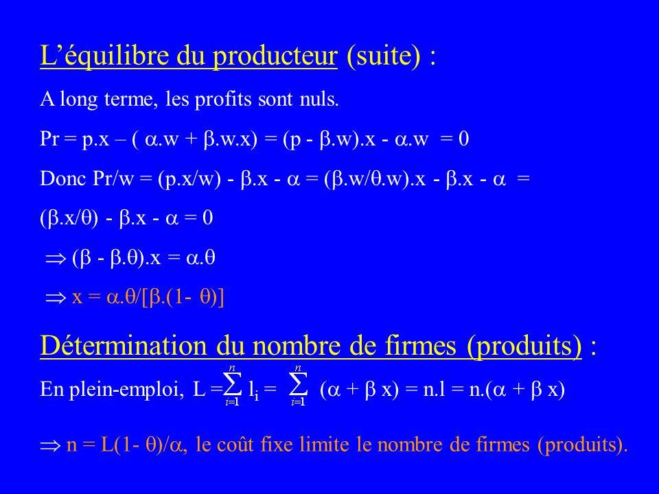 Léquilibre du producteur (suite) : A long terme, les profits sont nuls. Pr = p.x – (.w +.w.x) = (p -.w).x -.w = 0 Donc Pr/w = (p.x/w) -.x - = (.w/.w).