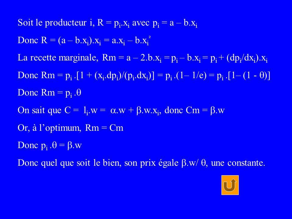 Soit le producteur i, R = p i.x i avec p i = a – b.x i Donc R = (a – b.x i ).x i = a.x i – b.x i ² La recette marginale, Rm = a – 2.b.x i = p i – b.x