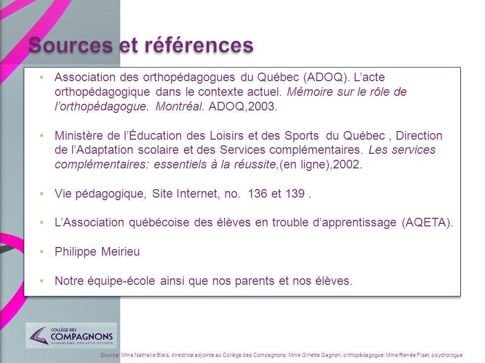 Source: Mme Nathalie Blais, directrice adjointe au Collège des Compagnons; Mme Ginette Gagnon, orthopédagogue; Mme Renée Fiset, psychologue Associatio