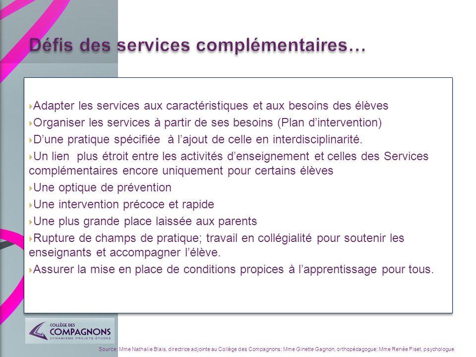 Adapter les services aux caractéristiques et aux besoins des élèves Organiser les services à partir de ses besoins (Plan dintervention) Dune pratique