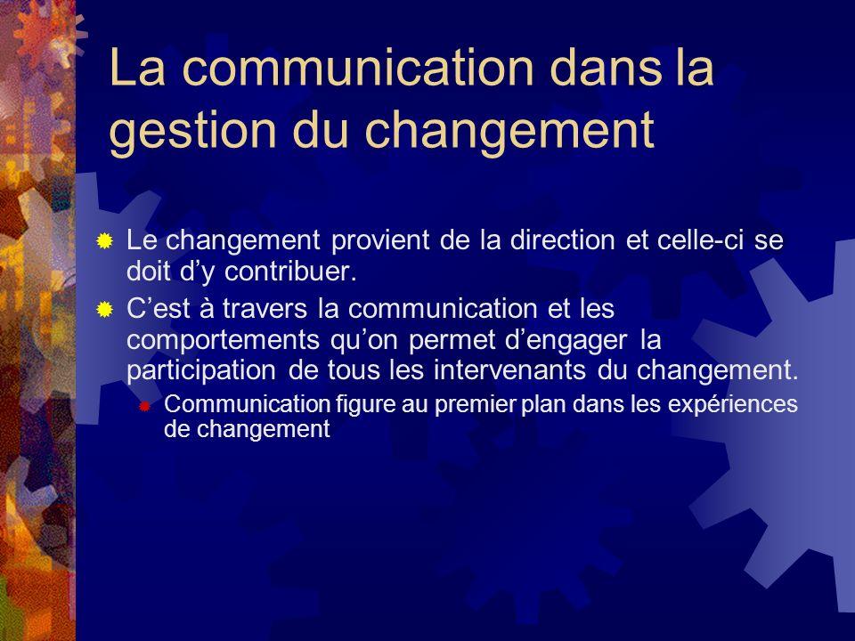 La communication dans la gestion du changement Le changement provient de la direction et celle-ci se doit dy contribuer.
