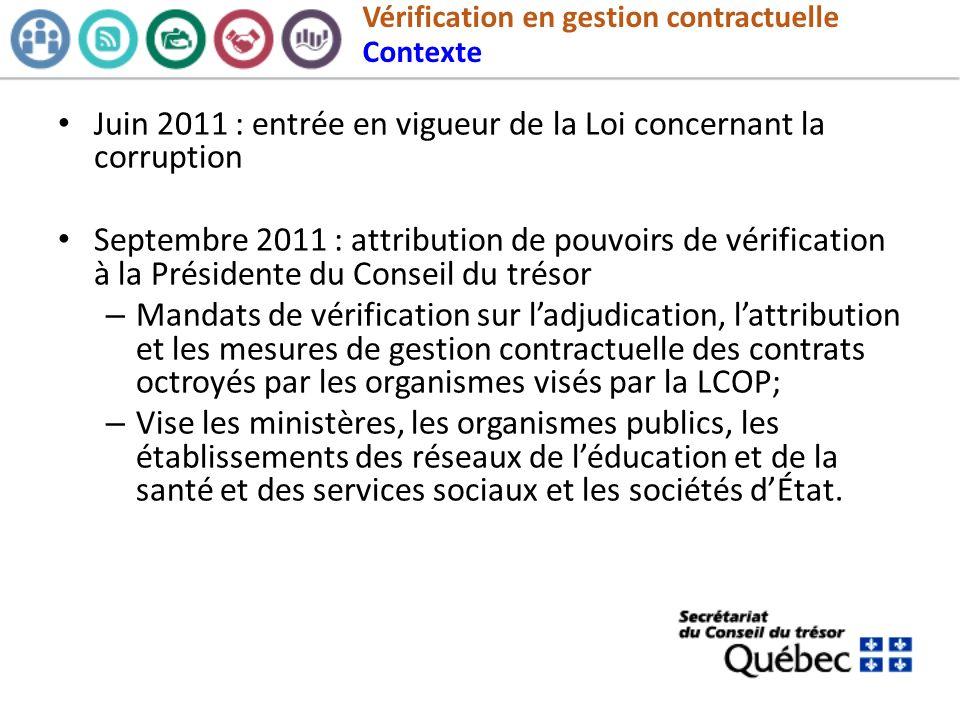 Vérification en gestion contractuelle Contexte Juin 2011 : entrée en vigueur de la Loi concernant la corruption Septembre 2011 : attribution de pouvoi