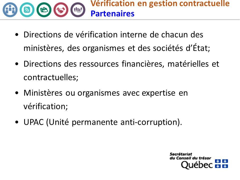 Vérification en gestion contractuelle Partenaires Directions de vérification interne de chacun des ministères, des organismes et des sociétés dÉtat; D
