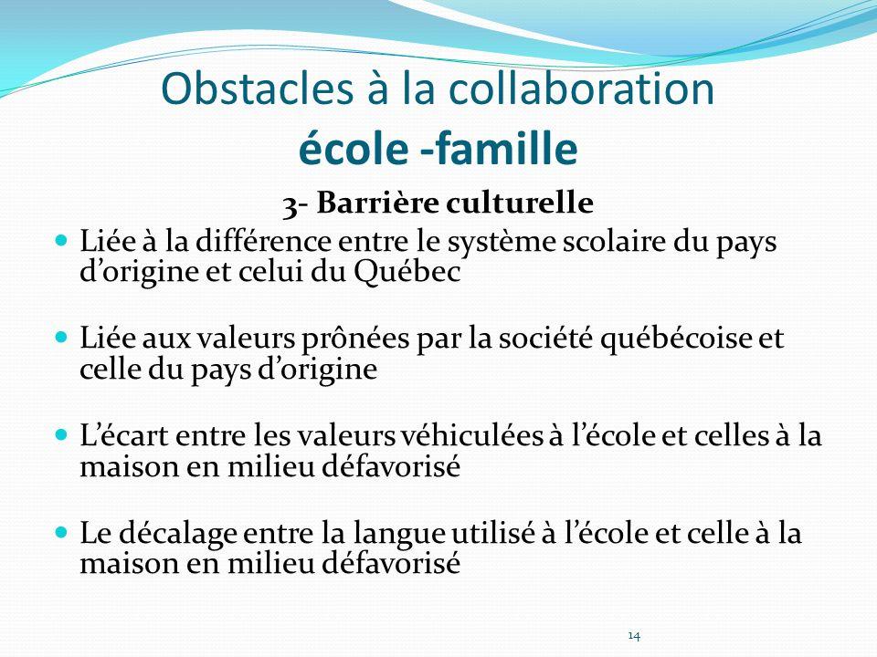 Obstacles à la collaboration école -famille 3- Barrière culturelle Liée à la différence entre le système scolaire du pays dorigine et celui du Québec