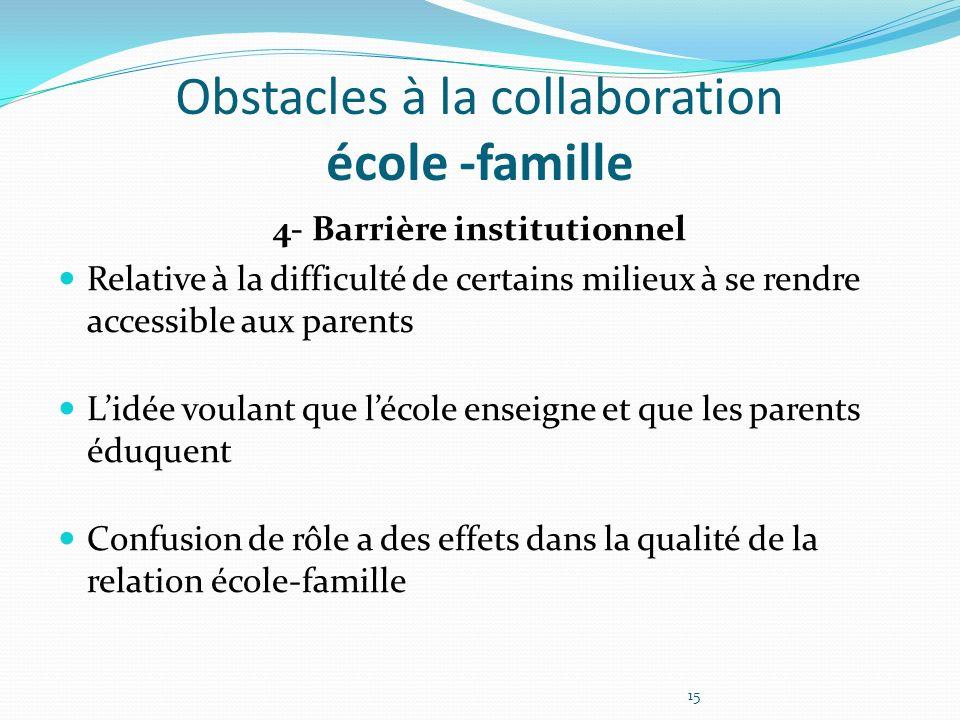 Obstacles à la collaboration école -famille 4- Barrière institutionnel Relative à la difficulté de certains milieux à se rendre accessible aux parents